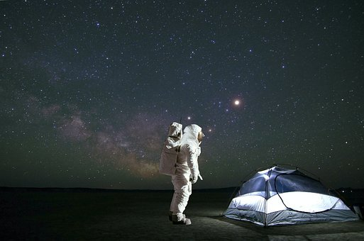 Photomontage, Cosmonaut, Camping, Constellation, Cosmos