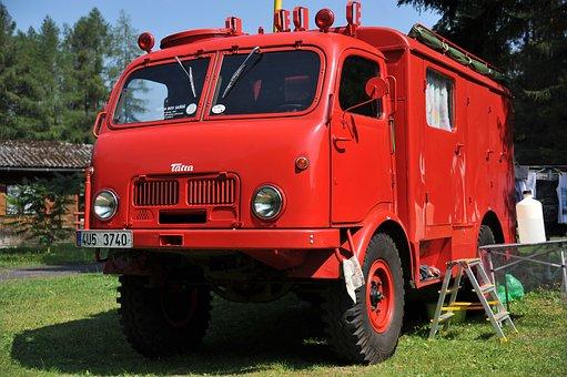 Vintage, Fire Truck, Alert, Fire, Antique, Firetruck