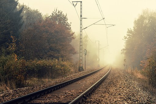 Rails, Train, Fog, Route, Weather, Locomotive, Lights