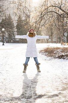 Woman, Winter, Outdoors, Fun, Cold, Snow, Christmas