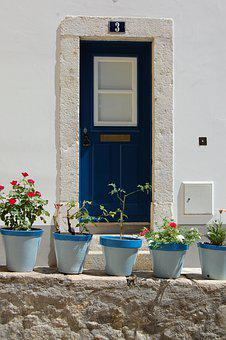 Door, Blue, Color, Vases, Flowers, Greece, Colorful
