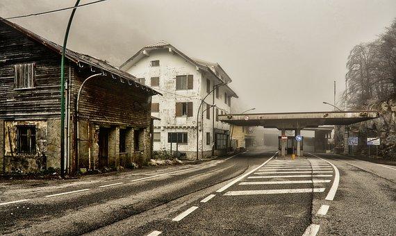 Fog, Mood, Break Up, Road, Border, Plöcken Pass, Italy