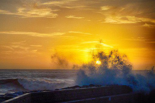 Recco, Onda, Sunset, Liguria, Italy, Sea, Water