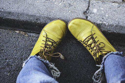 Jeans, Boots, Laces, Yellow, Footwear, Fashion