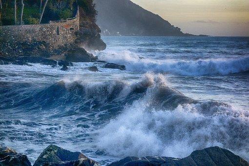 Recco, Onda, Sunset, Liguria, Italy, Sea, Sea Storm