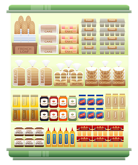 Supermarket Shelf, Products, Grocery, Egg, Bread