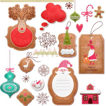 Christmas Tags, Santa Claus, Christmas Tree, Reindeer