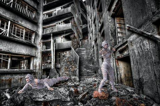 Photomontage, Mummies, Japan, Island Of Nagasaki, Ruins