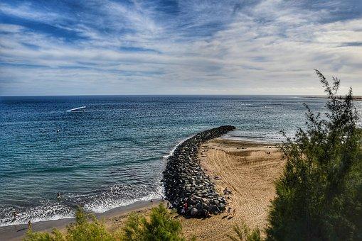 Landscape, Beach, Sea, Sky, Wave, Breakwater, South