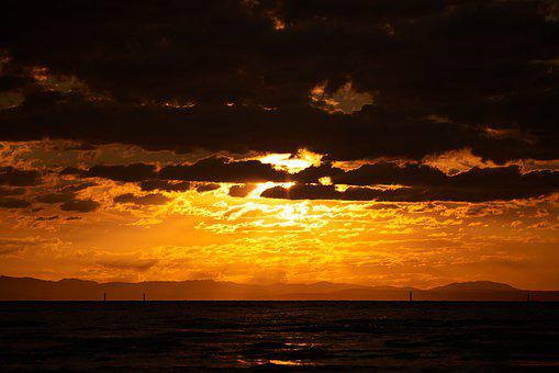 Sunset, Sea, Sky, Water, Nature, Beach, Waves, Evening