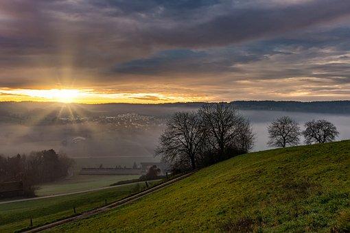Sunset, Landscape, Hilly, Nature, Clouds, Sky, Evening