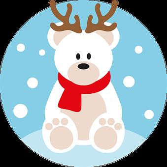 Polar Bear, Christmas, Reindeer, Yule, Winter, Snow