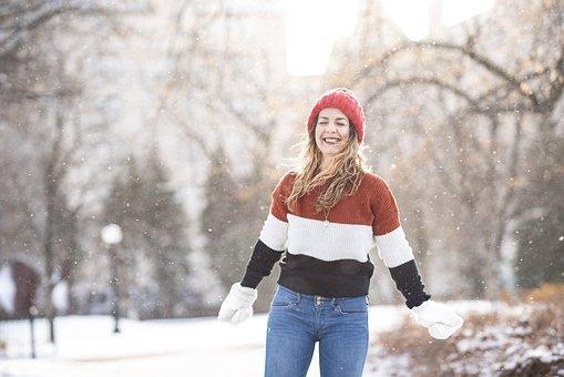 Winter, Park, Snow, Flakes, Red Hat, Woman, Portrait