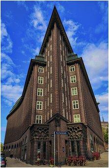 Hamburg, Sky, City, Port, Speicherstadt, Architecture
