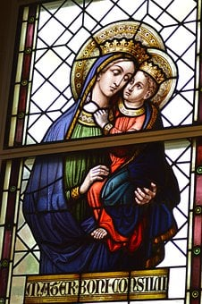 Stained Glass, Window, Church, Sainte, Woman, Virgin