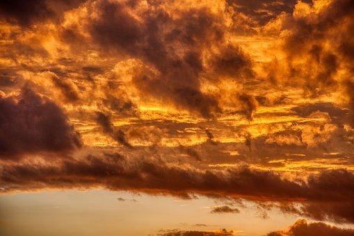Afterglow, Sunset, Clouds, Abendstimmung, Slight, Sky