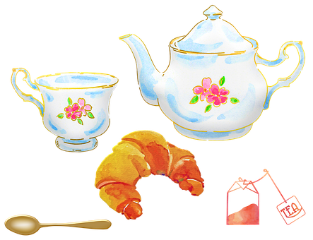 Watercolor Tea, Tea Pot, Tea Cup, Painted Set