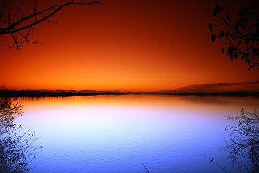 Lake, Sky Horizon, Mood, Water, Trees, Frame, Sunset
