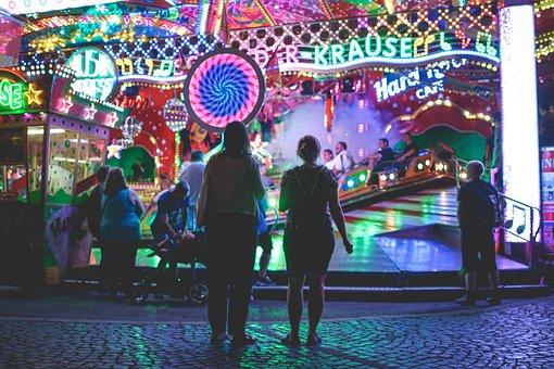 Fair, Year Market, Bumper Cars, Carousel, Caterpillar