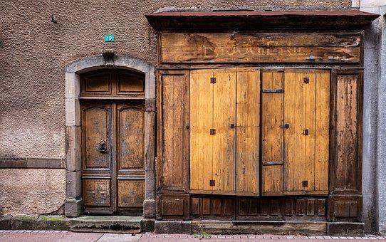 Front Door, Old, Abandoned, Wooden Door, Entrance Door