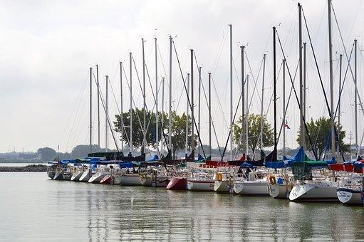 Sailboats, Bay, Dock, Marina, Water