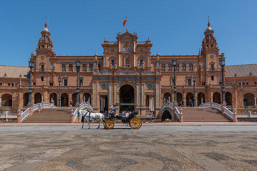 Sivilla, City, Spain, Plaza De Espana, Building
