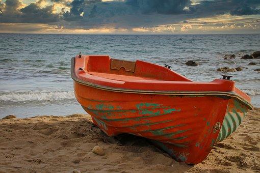 Boat, Beach, Sea, Landscape, Mood, Clouds, Red
