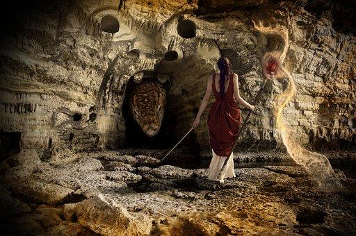 Sorceress, Dragon, Cave, Magic, Fantasy, Ancient