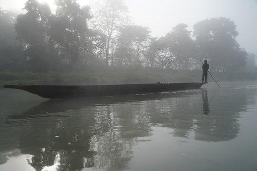 Dugout Canoe, Refection, River, Nepal, Chitwan, Fog