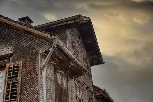 House, Old, Wood, Shingle, Facade, Evening Sky, Clouds