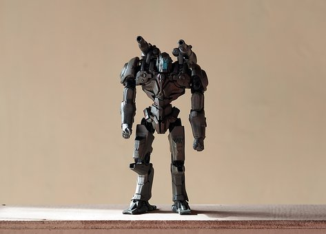 Robot Toy, Plastic, Painted, Movable, Action, Figure