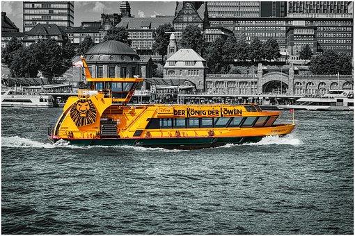 Ferry, Hamburg, Port, Elbe, Water, Ship, Germany
