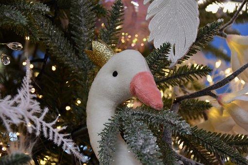 Christmas Decor, Goose Stuffed, Christmas Tree