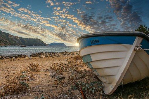 Boat, Beach, Sea, Landscape, Mood, Clouds, Blue, White