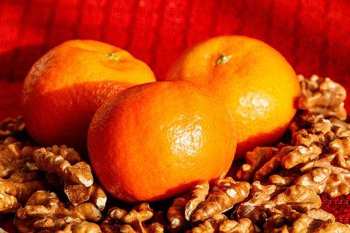 Walnuts, Mandarins, Fruit, Nuts, Food, Nutrition