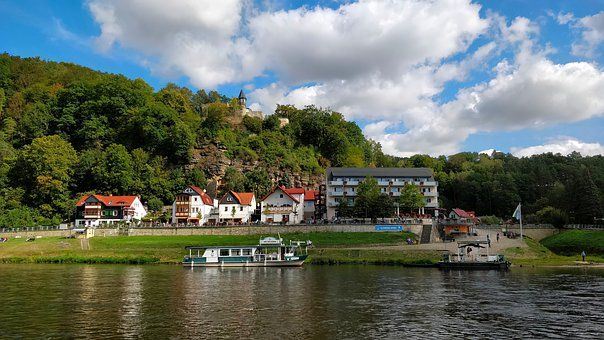 Ferry, River, Germany, Landscape, Countryside, Nature