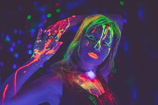 Girl, Club, Party, Neon, Phosphorus