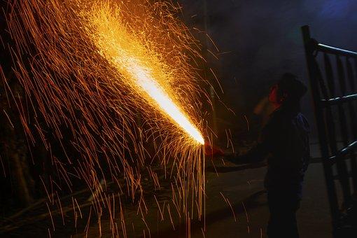 Firecrackers, Fire, Night, Fireworks, Explosion
