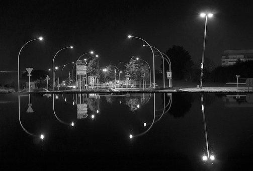 Night, Black And White, Water Plan, Saint-nazaire