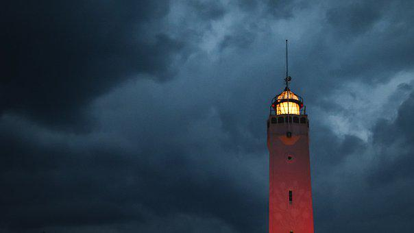 Lighthouse, Sea, Clouds, Shining, Night, Weather