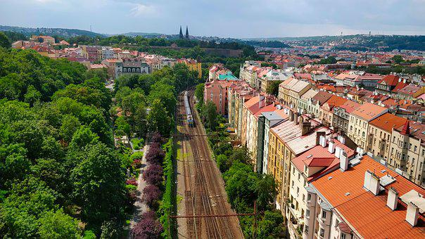 City, Railway, Train, Houses, Architecture, Park