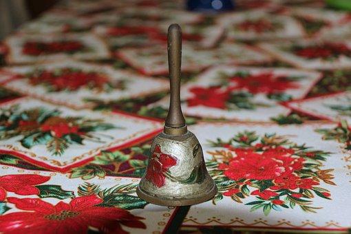 Christmas, Bell, Music, Red, Roses, Handmade, Antique