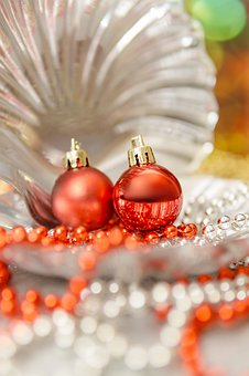 Deco, Christmas, Balls, Red, Beads, Silver, Gold, Shell