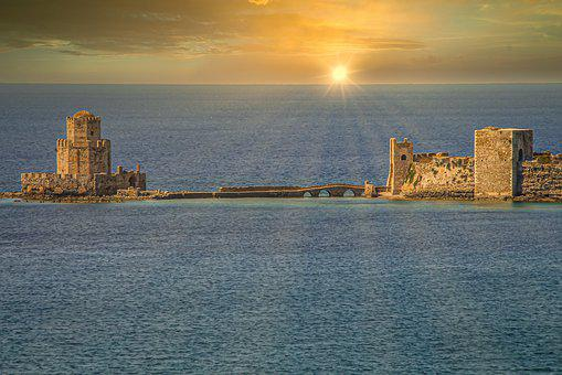 Castle, Sea, Sunset, Greece, Water, Old, Historically