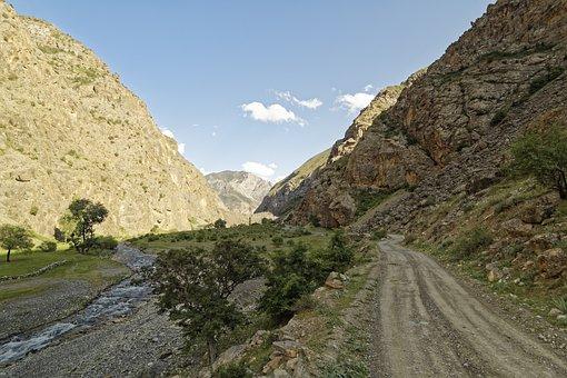 Tajikistan, šingtal, River, Mountains, Water, Valley