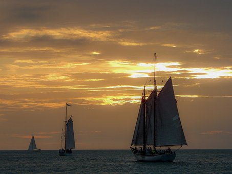 Ships, Florida, Key West, Sky, Water, Boat, Ocean