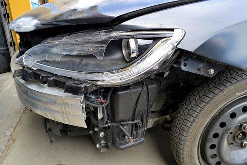 Auto Repair Shop, Broken, Headlamp, Car, Crashed, Wreck