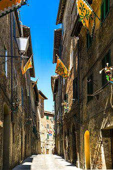 Alley, Siena, Building, History, Road, Flag