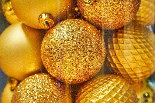 Gold, Balls, Christmas, Ornaments, Holidays