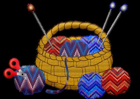 Basket Of Yarn, Knitting, Crochet, Craft, Basket